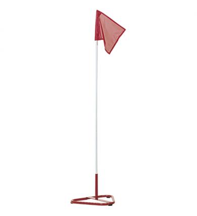 Hörnstolpe med fot och flagga